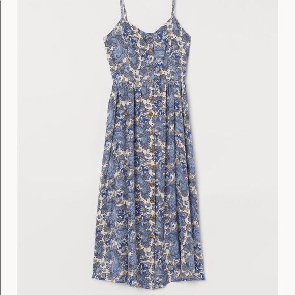 H&M Dresses & Skirts - H&M Blue Paisley Dress with Buttons